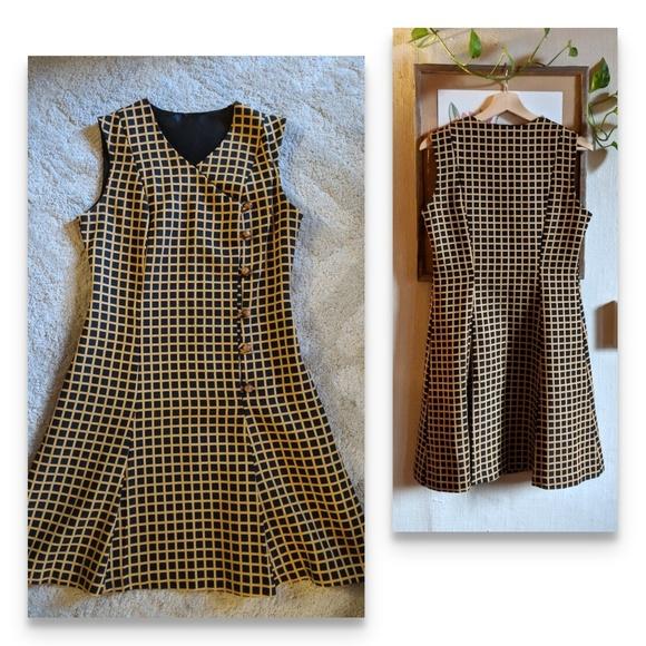 Vintage Dresses & Skirts - Vintage mod grid print jumper dress